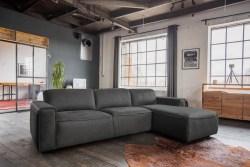KAWOLA Ecksofa EXTRA Sofa Leder grau Recamiere rechts groß mit motorischer Sitztiefenverstellung