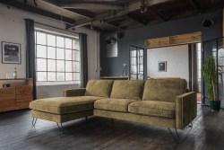 KAWOLA Ecksofa ELINA Sofa Recamiere links Velvet moosgrün 262cm
