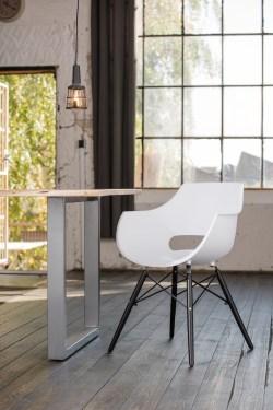 KAWOLA Essgruppe 9-Teilig mit Esstisch Baumkante nussbaumfarben Fuß silber 180x90cm und 8x Stuhl ZAJA Kunststoff weiß