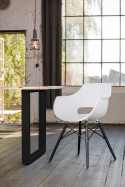 KAWOLA Essgruppe 9-Teilig mit Esstisch Baumkante nussbaumfarben Fuß schwarz 200x100cm und 8x Stuhl ZAJA Kunststoff weiß