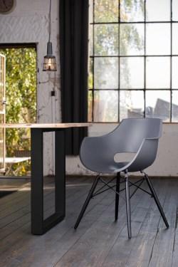 KAWOLA Essgruppe 9-Teilig mit Esstisch Baumkante Fuß schwarz 180x90cm und 8x Stuhl ZAJA Kunststoff anthrazit