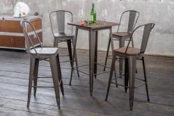 KAWOLA Sitzgruppe Bartisch VILDA mit 2x Stuhl ELI