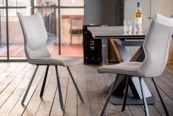 KAWOLA Essgruppe 7-Teilig Tisch PENNY dunkelgrau mit 6x Stuhl DINA Kunstleder/Stoff grau