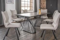 KAWOLA Essgruppe 7-Teilig Tisch ELOISE dunkelgrau mit 6x Stuhl DINA Kunstleder/Stoff grau