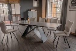 KAWOLA Essgruppe 5-Teilig Tisch BENNO dunkelgrau mit 4x Stuhl DINA Kunstleder/Stoff grau