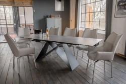 KAWOLA Essgruppe 7-Teilig Tisch BENNO dunkelgrau mit 6x Stuhl STINE Kunstleder/Stoff grau