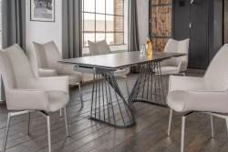 KAWOLA Essgruppe 5-Teilig Tisch ELOISE dunkelgrau mit 4x Stuhl STINE Kunstleder/Stoff grau
