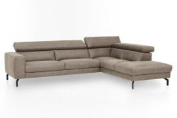 KAWOLA Ecksofa CALINA Sofa Recamiere rechts Microfaser beige