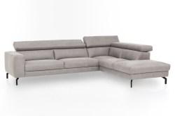 KAWOLA Ecksofa CALINA Sofa Recamiere rechts Microfaser silbergrau