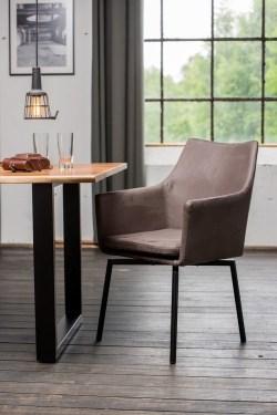 KAWOLA Essgruppe 7-teilig mit Esstisch Baumkante nussbaumfarben Fuß schwarz 200x100 und 6x Stuhl Cali Stoff grau