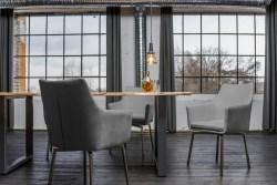 KAWOLA Essgruppe 7-teilig mit Esstisch Baumkante nussbaumfarben Fuß silber 200x100 und 6x Stuhl Cali Stoff grau