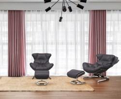 KAWOLA Relaxsessel ROWE Sessel Leder schwarz (B/H/T) 87x80x110cm inklusive Hocker