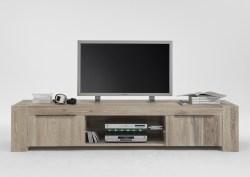 KAWOLA TV-Board MEMORIA mit Glasboden Massivholz Eiche white wash inkl. Beleuchtung 228x50x47cm (B/H/T)