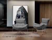 KAWOLA Sessel FINA Polstersessel Metallgestell Microfaser grau