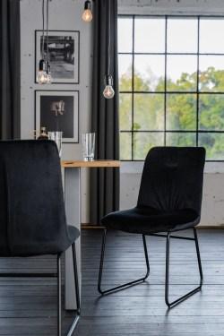 KAWOLA Stuhl ZITA Esszimmerstuhl Velvet schwarz