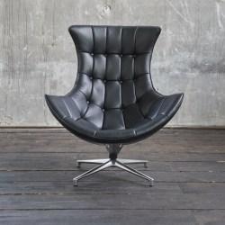 KAWOLA Drehsessel SKIO Sessel Leder matt schwarz (B/H/T) 84x90x96cm