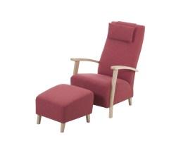 KAWOLA Sessel REIKI Polstersessel hoch Stoff rot inkl. Hocker