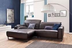 KAWOLA Sofa YORK Leder Life-line chocolate Rec links Fuß Metall schwarz mit Sitztiefenverstellung