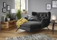 KAWOLA Longchair CHARME Stoff Velvet black