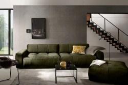 KAWOLA Sofa PALACE Stoff velvet oliv