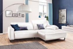 KAWOLA Sofa YORK Leder Life-line bianco Rec rechts Fuß Metall schwarz mit Sitztiefenverstellung