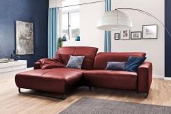 KAWOLA Sofa YORK Leder Life-line cherry Rec links Fuß Metall schwarz
