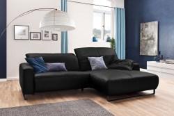 KAWOLA Sofa YORK Leder Life-line schwarz Recamiere rechts Fuß Metall schwarz