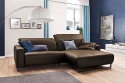 KAWOLA Sofa YORK Leder Life-line hasel Rec rechts Fuß Metall schwarz mit Sitztiefenverstellung