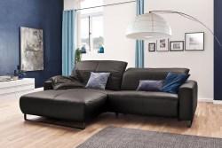 KAWOLA Sofa YORK Leder Life-line grey Recamiere rechts Fuß Metall schwarz