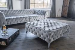 KAWOLA Hocker NARLA Velvet silber 110x110cm