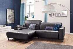 KAWOLA Sofa YORK Leder Life-line mocca Rec links Fuß Metall schwarz mit Sitztiefenverstellung