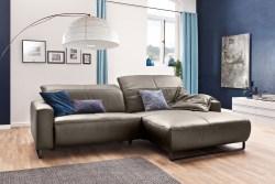 KAWOLA Sofa YORK Leder Life-line bisquit Rec rechts Fuß Metall schwarz mit Sitztiefenverstellung