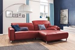 KAWOLA Sofa YORK Leder Life-line rot Rec rechts Fuß Metall Chrom matt mit Sitztiefenverstellung
