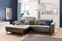 KAWOLA Sofa YORK Leder Life-line bisquit Rec links Fuß Metall Chrom matt