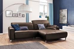 KAWOLA Sofa YORK Leder Life-line praline Rec rechts Fuß Metall Chrom matt mit Sitztiefenverstellung