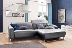 KAWOLA Sofa YORK Leder Life-line light-grey Rec rechts Fuß Metall Chrom matt mit Sitztiefenverstellung