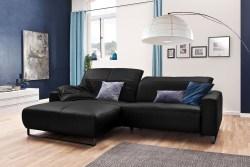 KAWOLA Sofa YORK Leder Life-line schwarz Recamiere links Fuß Metall schwarz