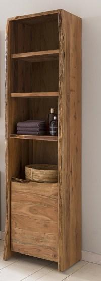 KAWOLA Badezimmer Hochschrank Loft Edge Akazie Massiv-Holz Baumkante B/H/T: 45x185x36cm