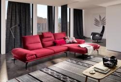 KAWOLA Sofa KIMI 3-Sitzer Ecksofa Stoff Recamiere rechts rot