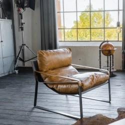 KAWOLA Sessel KUBE Clubsessel Vintage Leder braun