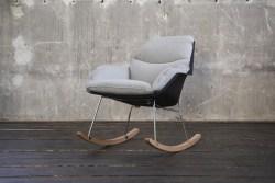 KAWOLA Stuhl SONNY Schaukelstuhl Stoff grau mit schwarzer Schale