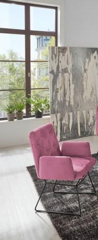 4er Set KAWOLA Esszimmerstuhl CHARME Stuhl velvet rosa