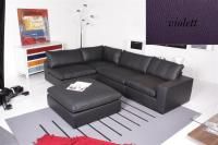 Sofa - Ecksofa Leder Toledo violett Armlehne rechts Lionel