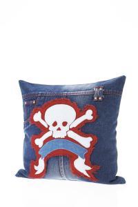 Kare Kissen Denim Skulls 'Pirat' 40 x 40 cm Jeansstoff