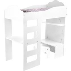 Puppenhochbett mit Schreibtisch, weiß