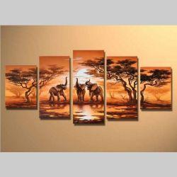 5 Leinwandbilder AFRIKA Elefant (5) 150 x 70cm Handgemalt