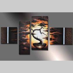 4 Leinwandbilder AFRIKA Baum (2) 120 x 70cm Handgemalt