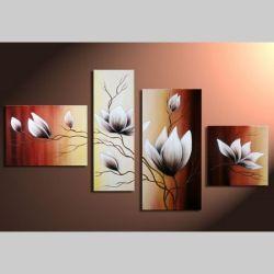 4 Leinwandbilder MAGNOLIA (5) 120 x 70cm Handgemalt