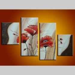 4 Leinwandbilder MOHN (7) 120 x 80cm Handgemalt
