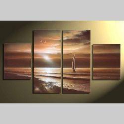 4 Leinwandbilder SONNENUNTERGANG (2) 120 x 70cm Handgemalt